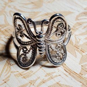 925 Sterling Silver Filigree Butterfly Ring Sz 8